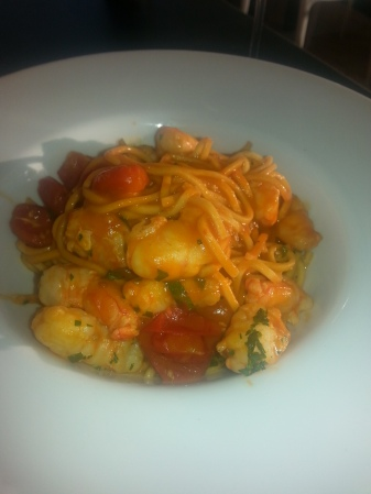Ripples Milsons Point review Spaghettini, prawns, tomato, capers