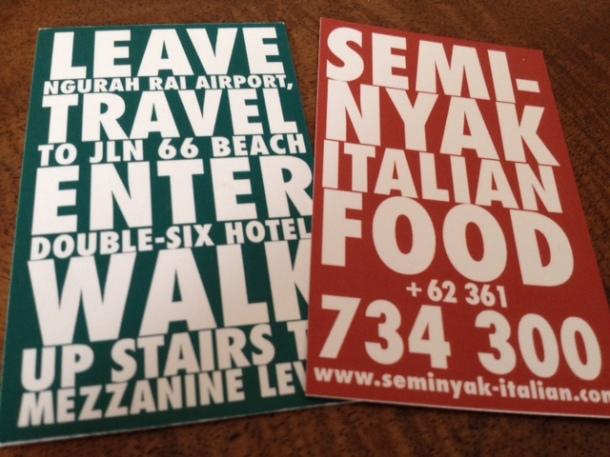 Seminyak Italian Food, Bali, resturant, menu, Double Six Hotel