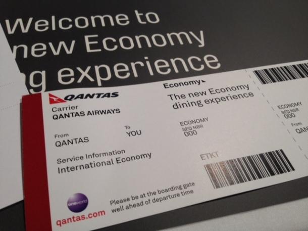 Qantas, new international economy menu