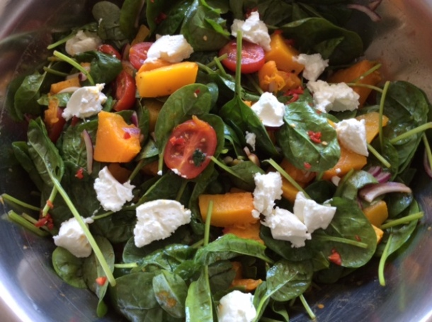 Pumpkin & spinach salad with goats cheese, recipe