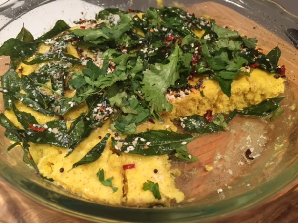 Dholka with curry leaves & mustard seeds