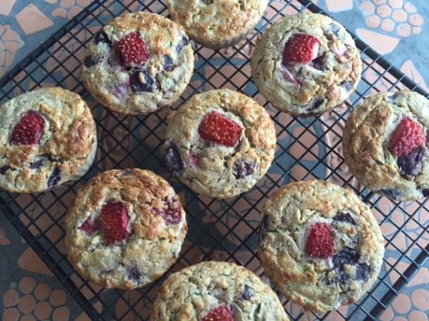 Gluten Free Strawberry & Cherry Muffins