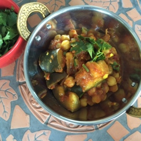 Chana masala – chickpea curry with eggplant