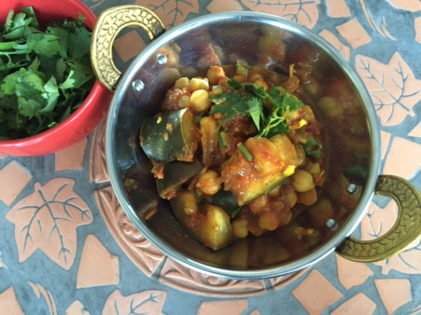 Chana masala - chickpea curry with eggplant