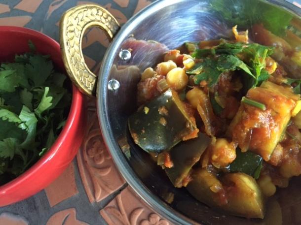 Chana masala - chickpea curry with eggplant
