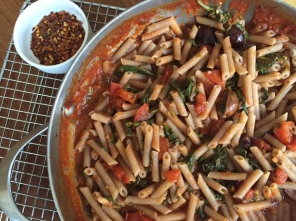 "Quinoa pasta ""puttanesca"" (gluten free)"