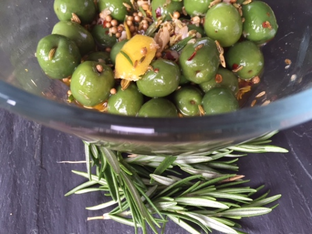 Olives marinated in spices & rosemary