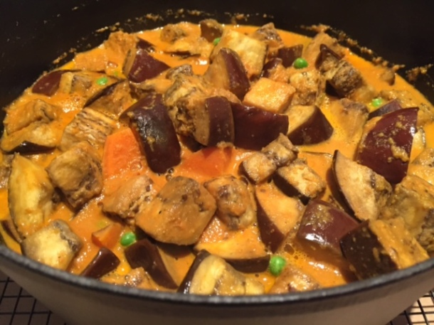 Eggplant & coconut curry with black cardamom