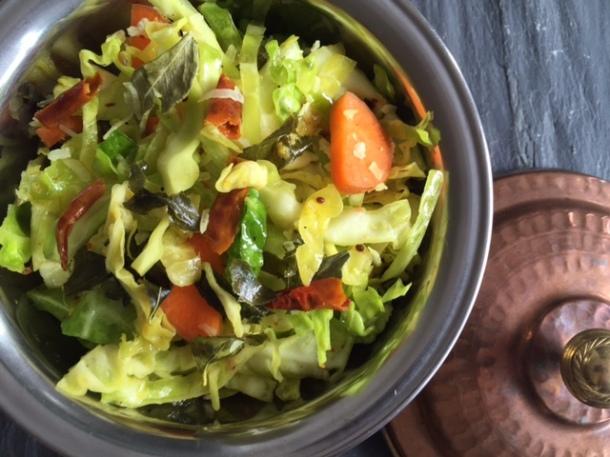 Indian cabbage thoran - Kerala style