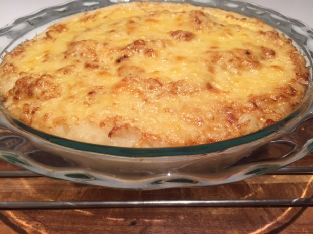 Fish pie with cauliflower topping