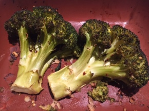 Whole roasted broccoli with spices