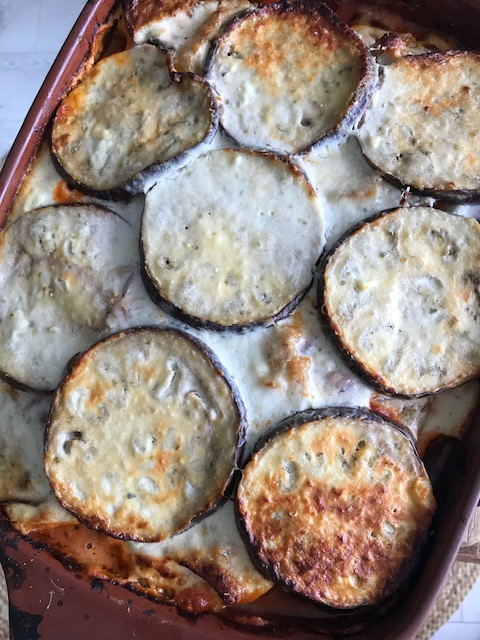Eggplant lasagna with goats cheese